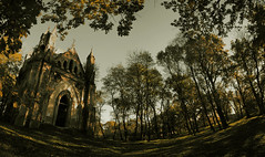 The Zakoziel Chapel Panorama (Dark) (lemmingby) Tags: postprocessed abandoned yellow architecture buildings dark travels panoramic chapels trips haunting forsaken belarus derelict brestregion otherwheres zakoziel