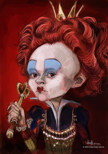 digital caricature of Helena Bonham Carter as The Red Queen - 1