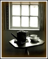 Teapot on the Table (Stephanie'sBestShots) Tags: blackandwhite stilllife window museum backlight table village interior newengland landmark monochromatic historical teapot bowls preservation oldsturbridgevillage sturbridgevillage