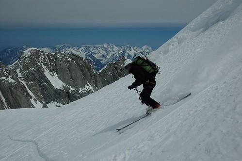 Tobin skiing on Mt Waddington