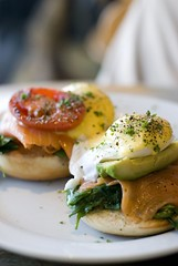 Salmon Eggs Benedict (silverlily) Tags: food breakfast tomato 50mm avocado nikon salmon explore eggs spinach eggsbenedict 283 lemoncafe d80