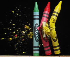 Crayons (1) (Mark Watson (kalimistuk)) Tags: red green colors make yellow lumix still shoot shot fast panasonic crayons highspeed strobe fz50 froze pellet 22cal lowlowpowerlol
