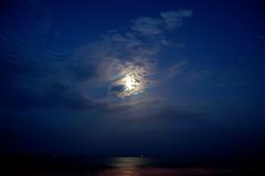 Blue moon... (..Alba..) Tags: ocean blue sky moon nikon heaven mare blu agosto cielo cagliari sera d40