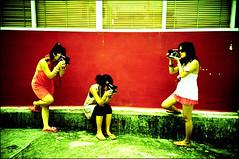 SX-70 killers !! (Twiggy Tu) Tags: girls vacation film lomo lca taiwan cameras nia sigrid twiggy kenting colorfulwall myeverydaylife girlswithcameras photobybrad oursx70sonar