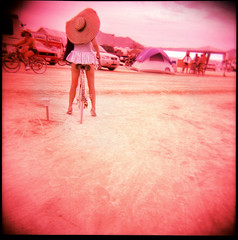 Sun Hat (pixietart) Tags: camping sun hot film nycpb fashion bike bicycle square back holga xpro desert tattoos blackrockcity gingham crossprocessing heat alita sunhat burningman2007