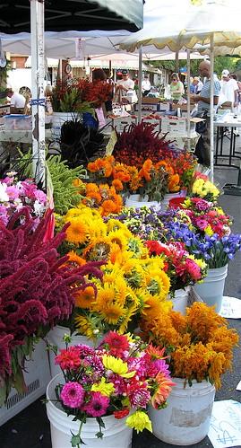 Flower vendor's wares.