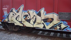 omens (Making Stuff Blog) Tags: trains bnsf boxcarart fr8trains texasgraff texasbenching texasfr8s texasgraffitifreighttrains goldenwestservicefr8s