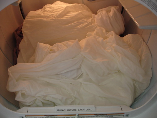 Fluffed Sheets in Dryer