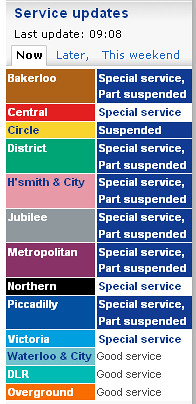 Tube Status as of 3rd November 2010 - 3rd Tube Strike
