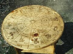 Astrology Wheel Portable Table (dragonoak) Tags: wood art zodiac astrology pyrography dragonoak
