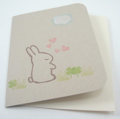 sleepy bunny in the clover card (chetanddot) Tags: kawaii blockprinted
