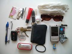 Pocketesses? Or Purse? (Ms. Jen) Tags: sunglasses keys nokia lipstick pens handkerchief lipgloss dentalfloss moocards nokian95 soapleaves whatlivesinmypurse keepingupwiththegeeks