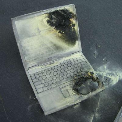 Ausgebrannter Dell Laptop