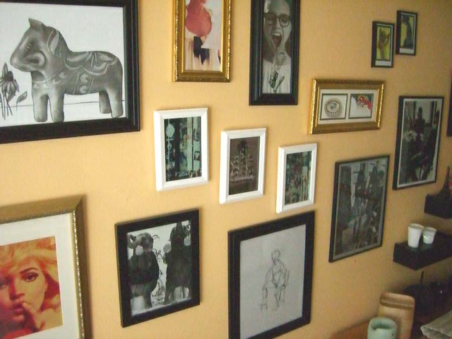 Framed Magazine Images and my artwork