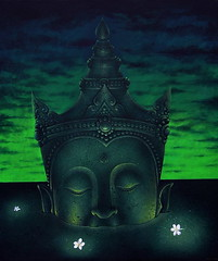 Buddhas, 2004.5, by Phanthong Saechun, acrylic on canvas, 100x120cm