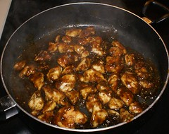 4.)  toss chicken with prepared mix, simmer down