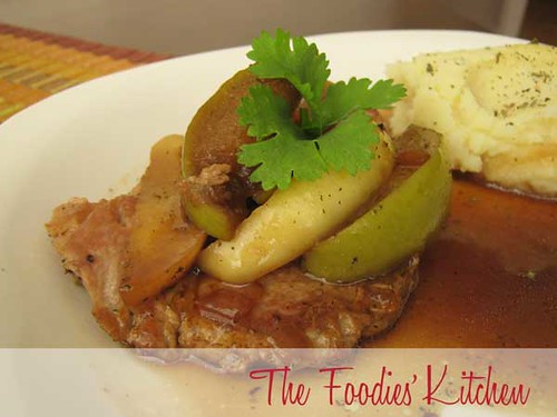 Porkchops with Dark Beer Sauce & Apples