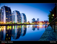 Salford Quays Manchester (Shahid A Khan) Tags: uk england urban reflection water skyline architecture modern buildings manchester photography canal twilight nikon colorful flickr cityscape forsale shot nightshot image picture sigma salfordquays pic images lancashire bbc bluehour salford greatermanchester sigma1850 mediacity nikond300 sakhan shahidkhan shahidakhan sakhanphotography