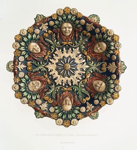 019-Plato decorado con mascaras-Museo del Louvre-Colección Sauvageot-Monographie de l'oeuvre de Bernard Palissy…1862
