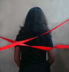 Closure.. (dream_maze) Tags: red black forbidden end ribbon boundaries closure limits