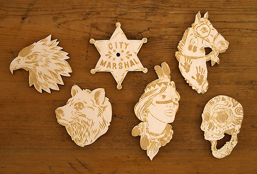 More wood cut brooches