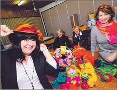 FELTING CLASS: Janet Maschmedt, Anthea Craig, Rikie Klaassen and tutor Felicity Williams at Blackwood Uniting Church. (Picture: Keryn Stevens H0309602, Hills & Valley Messenger, 20 Oct 2010)