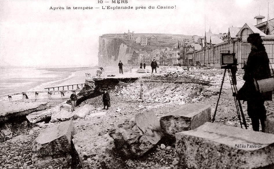 dégâts de la tempête de mars 1914 sur le front de mer de Mers les Bains