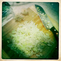 chopped leeks and garlic