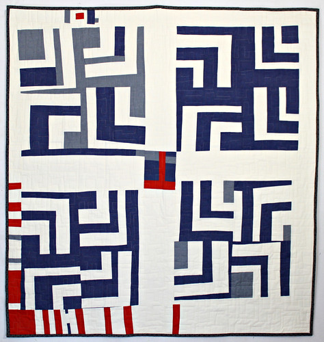 Blue and White Split Log Cabin Quilt