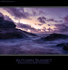 Sennen Cove Autumn Sunset (Michael Saunders Cornwall) Tags: autumn sunset sea sky sun west beach water stone clouds bay coast seaside sand cornwall waves stones cove rough seas sennen impressedbeauty dblringexcellence
