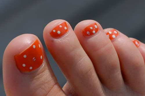 Poka Dot Orange Toenails Design