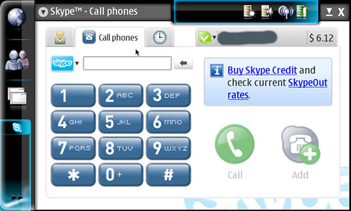 Skype calling screen on N800