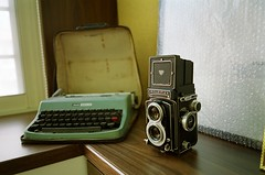 rolleiflex T (white face) and typewriter