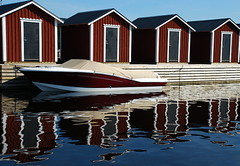 Bstad harbor - Sweden - Reflections (Tante Bluhme's) Tags: summer sun eye nature water reflections harbor boat bravo bstad magicdonkey anawesomeshot nikon40dx