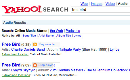 Yahoo Audio Search Sample