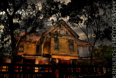 when evening fell (Kris Kros) Tags: california ca usa house black halloween window strange cali mystery lady night corner dark photography bride evening la us losangeles high scary nikon bravo waiting moody dynamic fear eerie haunted creepy spooky socal wicked when horror kris dread d200 scared range fell hdr fright kkg frightening horrific uneasiness photomatix kros kriskros ladyinthewindow 5xp kk2k proudshopper kkgallery