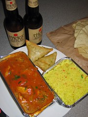 Chicken Bhuna, Samosas, Indian beer and rice from Curry In a Hurry, Edinburgh (aka The Raj restaurant in Leith)