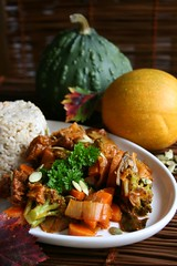 Autumn Stew (Elina Innanen) Tags: autumn food fall tomato pumpkin vegan healthy rice broccoli seeds vegetarian carrot seitan leek