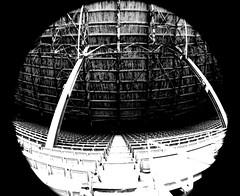 upper deck (paulhitz) Tags: old city urban blackandwhite bw fish eye abandoned demolish digital canon geotagged demo eos rebel blackwhite lomo baseball map decay michigan tag detroit demolition demolishing september tagged fisheye explore abandon urbanexploration geo geotag tigerstadium bnw 07 2007 ue mapped mlb 28th detroittigers urbex endofanera baseballstadium urbanexplore xti 092807 paulhitz xticanoneosdigitalrebeleos tigers9282007 09282007