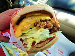 Gripping the Double-Double Burger (Harvey-Harv) Tags: food sony burgers innoutburger allyoucaneat dschx1 sonydschx1