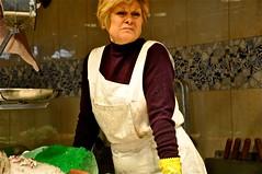 Butcher Shop Lady (dulce626) Tags: barcelona scale lady spain european market apron espana butcher 2010 laboqueria spanishlady