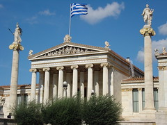 Academy of Athens /    (Alexanyan) Tags: city museum modern greek europe republic flag capital hellas athens greece grecia national academy grece athina athenes byzantium grecko ellas ellada hellenic grekland grecja kreikka      ecko   griechland
