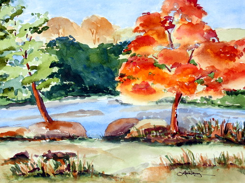 Fall Foliage Riverview - Original Watercolor Painting