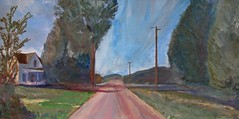 dirt road in Chester - painting (Pilgrim on this road - Bill Revill) Tags: road painting landscape vermont acrylic chester revill billrevill