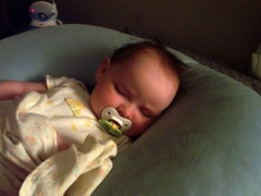Talia asleep on Boppy pillow (2)