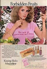 Maybelline Kissing Slicks (twitchery) Tags: vintage makeup lips 80s 70s lipstick lipgloss maybelline vintageads smackers vintagebeauty kissingpotion