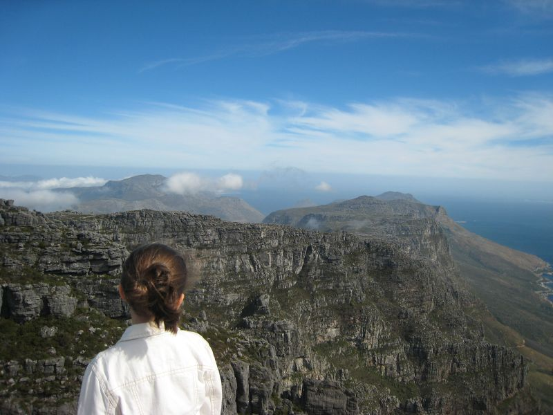 Fearless - Madeleine looks toward the Cape from the top of Table Mountain, Cape Town, South Africa