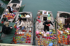 Fruit sellers in Ha Long Bay, Vietnam (MatnKat) Tags: water fruit boat vietnam fruitseller catba