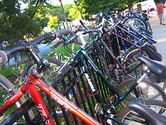 Bikes lined up at the 2007 Bucktown Arts Festival