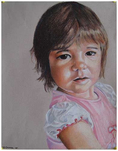 Colored pencil drawing entitled Clara at 15 Months